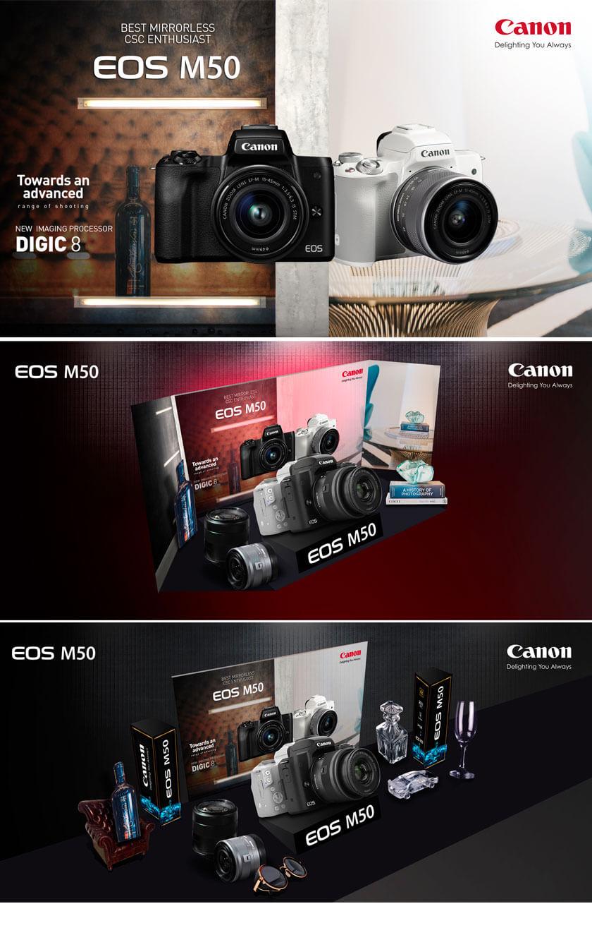 ออกแบบ Keyvisual Poster คิดคอนเซ็ปรูปแบบกล้อง Canon ให้ดูโดดเด่น มีสไตส์ ดีไซน์ ล้ำสมัย
